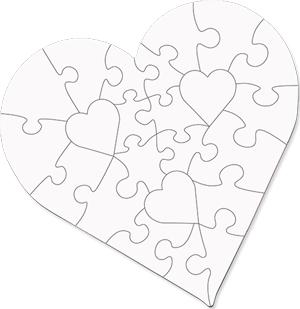 "Unisub 6.7"" Heart Shape Hardboard Jigsaw Puzzle 25 Piece"