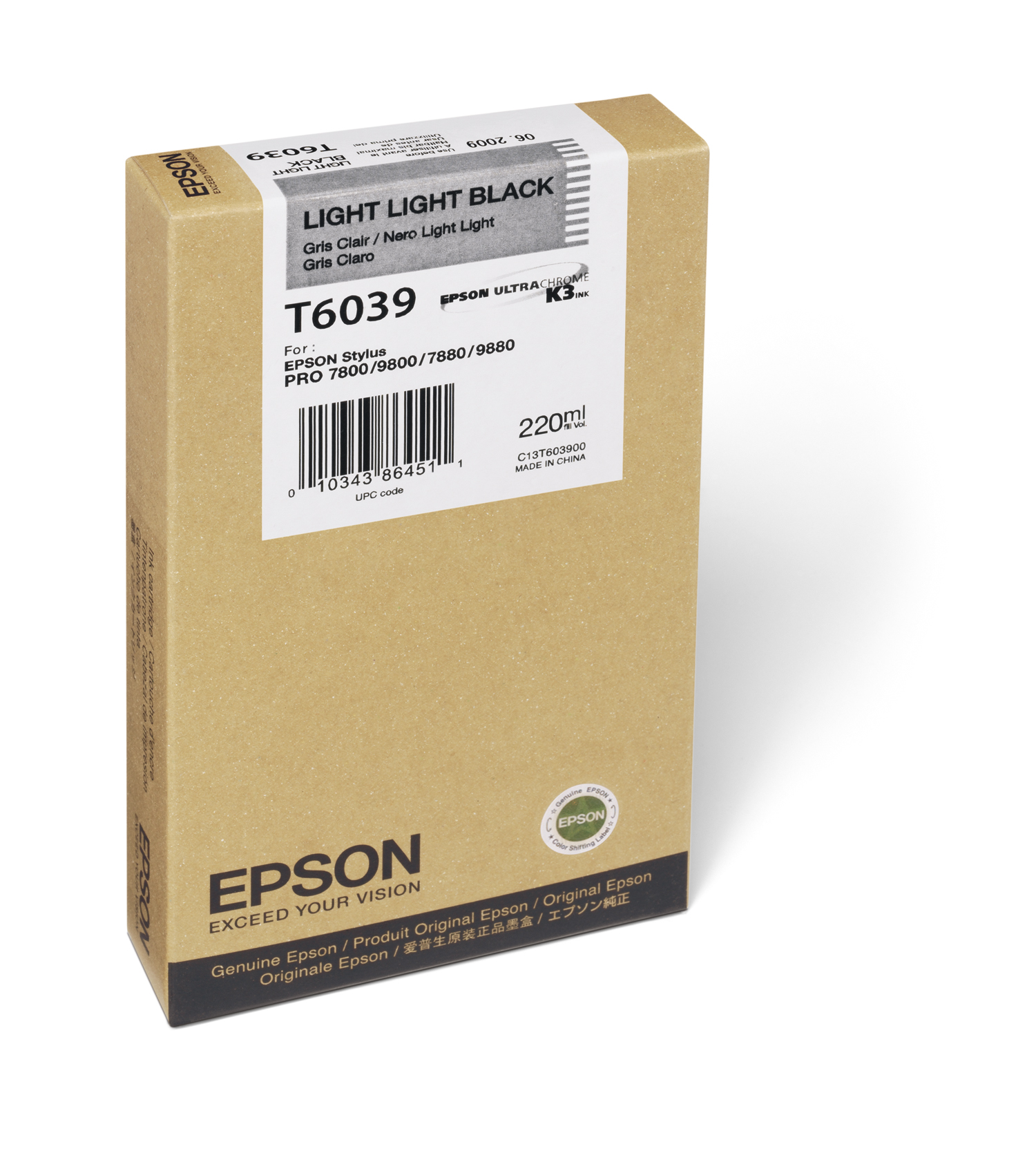 Epson 7800/7880/9800/9880 Light Light Black Ink UltraChrome (220ml) (T603900)