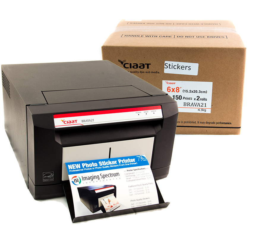 Brava 21 Photo Printer + 6x8 Sticker Print Kit Bundle