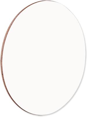 "Unisub 3.75"" Round Gloss White Hardboard Coaster with Cork Back"