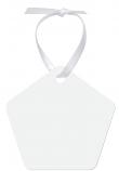 "Unisub 2.86"" x 2.7"" Pentagon Aluminum Ornament 1 Sided with White Ribbon"