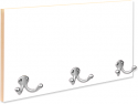 Unisub Coat Hanger with 3 Silver Hooks, Natural Edge