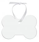 """Unisub 3.25"""" x 2.145"""" Dog Bone Aluminum Ornament 1 Sided with White Ribbon"""